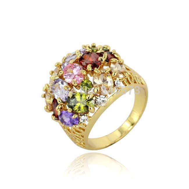 cristal colorido anel 18k ouro rosa placa mulheres anéis jóias decoração(China (Mainland))