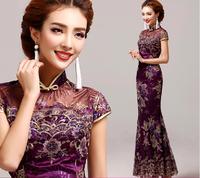 Fashion Purple Vintage Evening dress Short sleeve long cheongsam dress chinese traditional dress qipao evening dresses gown E71