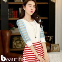 new 2014 Women organza stripes stitching patchwork Slim Sleeve Chiffon blouse Shirt Free Shipping