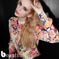 Hot Sale New 2014 Long Sleeve Flower Print Chiffon Tops Shirt Women Floral Blouse European Fashion Vintage Long Sleeve Blouse