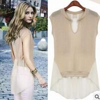 2014 new fashion summer spell color short-sleeved chiffon blouse stitching Girls long paragraph short-sleeved chiffon shirt