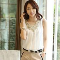 2014 summer new sleeveless vest straps bottoming shirt wrinkled white chiffon shirt short-sleeved shirt female free shipping