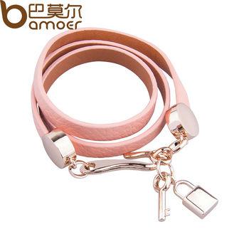 Bamoer Luxury Real 18K Золото Plated Genuine Розовый Wrap Leather Bracelet Three ...