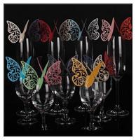Hot 200pcs Wedding Favors Butterfly Wine Glass Card Paper  Escort Card  Cup Card  for Wedding Par Wedding Favors
