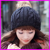 New Fashion 2014 Women Winter Warm Knitted Hats With Fur Ball Outdoor Casual Pompon Skullies Beanies Caps