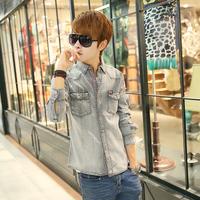 Free shipping! New listing casual men's fashion Slim washed denim shirt