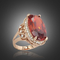 2014 Fashion 18K Rose Gold Vintage Jewelry Exquisite Red AAA Cubic Big Zircon Mosaic Austrian Crystals Wedding Ring For Women