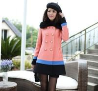 2014 New Fashion Winter And Autumn Hit Color Woolen Coat Jacket Female Models Long Korean Woolen Coat BZX20