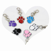 Dog Cat ID Tag Cute Stainless Steel Metal Paw Shaped Pet Name Supplies Pendent Charm