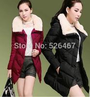 Free shipping 2014 New Fashion Women's winter outerwear Cotton medium-long slim wadded coat