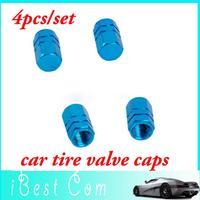 Free shipping high quality 4pcs/set Metal Car Tire Valve Stem Caps Auto Decoration Blue wholesale hot sale helikopter