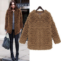 2014 New Fashion Autumn And Winter Slim Woolen Coat Solid Color Plus Size S-5xl Thick Velvet Loose Women Coat BZX22