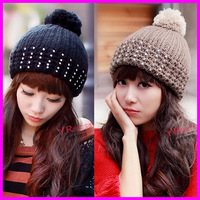 2014 Fashion Winter Fall Hats For Women Warm Knitted diamond With Pom Beanies Cap