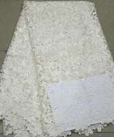 White Gorgeous lace african cord lace high quality chemical lace water soluble guipure lace fabric