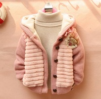 Retail winter JACKET for girls baby CHILDREN CLOTHING 1-3YEARS KIDS CLOTHES Lace WINTER COAT Korean version