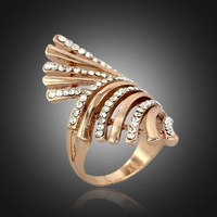 Wholesale Big Fashion Brand 18K Rose Gold Vintage Jewelry Punk Exquisite Zircon Mosaic Stars New 2014 Wedding Rings For Women