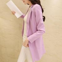 free shipping  2014 autumn large size blazer medium-long long-sleeve female suit slim outerwear blazer women,M L XL 2XL 3XL