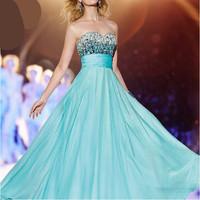 2014 Latest Design A-Line Floor-Length Long Evening Dress Crystal Sweetheart Sexy Evening Dresses Prom Gown Vestido de Festa