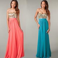 Long Evening Dress 2014 Fashion Sweetheart Chiffon Party Dresses Formal Dress Evening Dresses Vestido de Festa