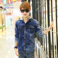 Free shipping! New listing Men's Slim long-sleeved denim shirt casual shirt removable cap