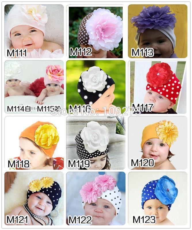 1PC newborn props photography 100% cotton 12 colors christmas baby girls big flower bonnet knit hat kids cute winter beanie cap(China (Mainland))