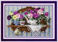 Needlework,DIY Ribbon Cross stitch Sets for Embroidery kit,Teaport flower love ribbon Cross-Stitch handcraft wall home decor