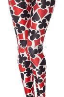YWNN New Arrival Women Sexy Leggings Cartoon Poker 3d print Causel Legging Hot Girl Street Wear Fashion Pants Free Shipping