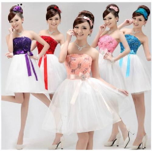 2014 Ball vestido daminhas Vestidos bowknot Sash Strapless Vestidos dama de honra doces raparigas Vestidos BL -58(China (Mainland))
