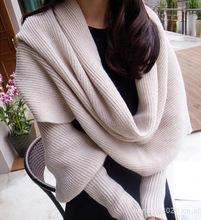 Warm wool scarf shawl long sleeves multifunction free shipping(China (Mainland))