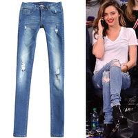 2014 new DSQ Brand Trousers square metal  fashion elastic metal hole jeans