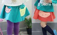 5pcs/Lot New Fall Fashion Lovely Appliques Cat Cotton Girls Skirt Children Kids Cartoon Skirt Green Orange