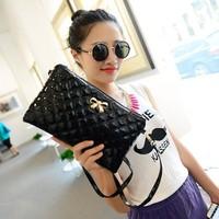 2014 New Women Envelope Bag Fashion Bow Messenger Bag Women's Clutch Crossbody Plaid Shoulder Bags PROMOTION WJ1008
