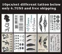 Free ship/10pcs/lot,temporary tattoo sticker/Heart,Bar code,anchor,crown,diamond,feather,gun,letter/waterproof,tattooing fake/CE