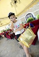 2014 new European fashion Lady shallow gold silver metallic handbags casual shoulder bag big bag ladies 2 in 1 bags