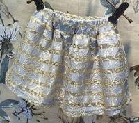 autumn new Girls Korean Gold Stripe Skirt