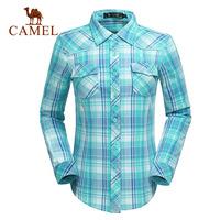 Camel for outdoor Women casual shirt long-sleeve 100% turn-down collar cotton plaid shirt a4w112147