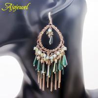 Luxury green crystal earrings SWA element austrian crystal dangle earrings for women