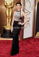 New Arrival 2014 Luxurious Halter Black Beaded Backless Long Mermaid  Prom Dress