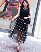 2014 New Fashion Womne's Large Size Dot Skirts Embroidered Gauze Elastic Waist Summer Skirt Plus Size Women Clothing  795