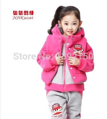 Children's clothing 2015 Kids Winter Children 3 Set Boys and girls three-piece Sports suit Sweet Avant-garde(China (Mainland))