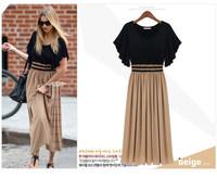3XL Dress 2014 New Fashion Women's Summer Long Dress Plus Size Stitch Elastic Slim Waist Bohemian Dresses High Quality ! 789