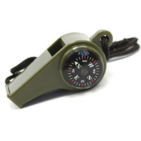 Outdoor thermometer compass whistle three-in survival whistle lanyard