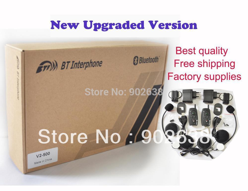 Best price!+Best 2*BT Interphone / Bluetooth motorcycle helmet intercom(China (Mainland))