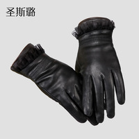 Free shipping!Sheepskin genuine leather gloves short design lace decoration plus velvet thermal women's ladies leather gloves
