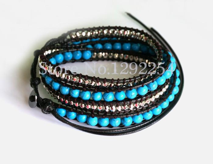 6MM Blue Turquoise Bead Wrap Bracelet Handmade Wrap Immitation Leather Braided Bracelet One Pcs For Gift(China (Mainland))
