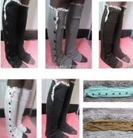Free shipping Women Lace edge Leg Warmers Sleeve Knit Stocking Stripe Crochet 55cm Length 7 colors