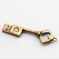 USB Pen Drive Metal Pure Copper Heart Key Gift USB Flash Drive mini USB stick Key Genuine 2gb 4gb 8gb 16gb 32gb 64gbThumb Stick