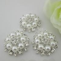 (FL314)Fashion White Pearl Clear Crystal Flatback Rhinestone Button Embellishment For Wedding Invitation Card