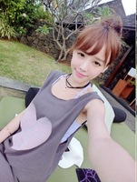 Summer New Arrive Comfortable Sleeveless Round Neck Tops with Heart Shape Pattern Print Free Shipping A419B-2-569#