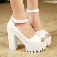 2014 European sexy lady's open toe platform pumps 12.8cm women Hoof heels party shoes High Heels Bridal Wedding Shoes 0784